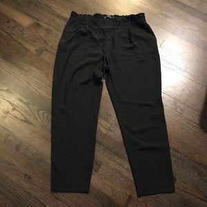 Zara Basic Black Ankle Pants XL Elastic Waist